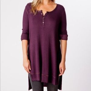 Free people plum Gwen Thermal henley tunic
